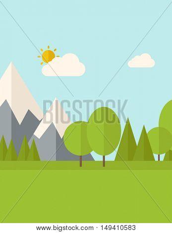 Natural landscape.  flat design style