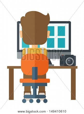 A man facing backward with laptop and camera looking the soft copy of the pictures taken. A Contemporary style.  flat design illustration isolated white background. Vertical layout