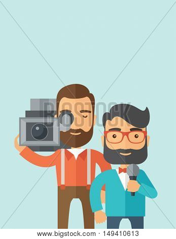 A professional caucasian journalist and news reporter with video camera and microphone broadcasting. A Contemporary style with pastel palette, soft blue tinted background.  flat design illustration