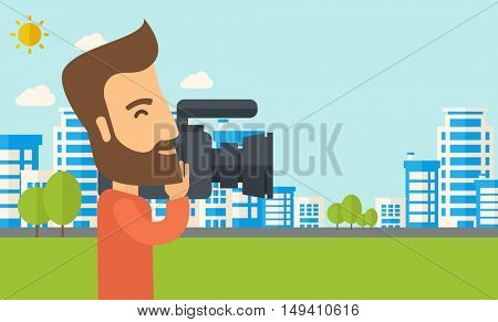A hipster cameraman with video camera taking a video with thye buildings around.  flat design illustration. Horizontal layout.