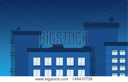 Vector night city landscape illustration collection stock