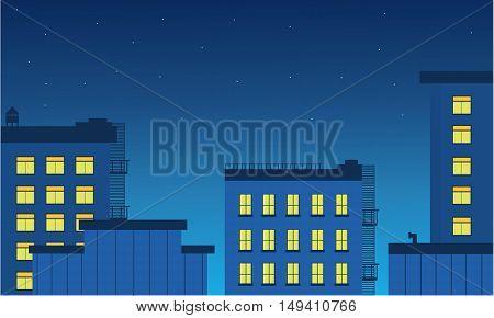 Landscape builsing and light at night vetcor illustration