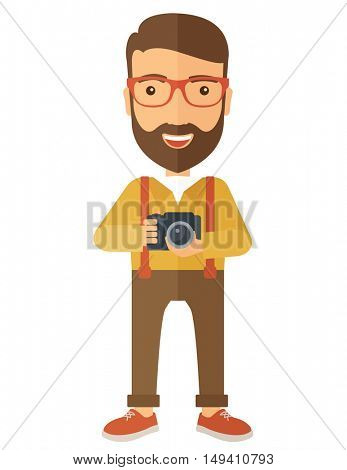 A Caucasian photographer smiling while holding his camera. A Contemporary style.  flat design illustration isolated white background. Vertical layout