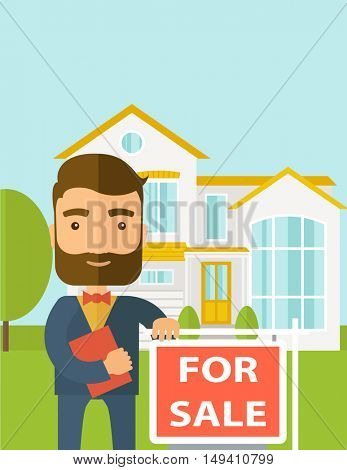 A real estate agent holding the document for the for sale house.  A Contemporary style with pastel palette, soft blue tinted background.  flat design illustration. Vertical layout with text sapce on