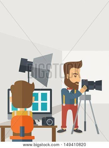 A Photography studio with a light set up and white backdrop and his companion with laptop for developing the picture. A Contemporary style with pastel palette, soft grey tinted background.  flat