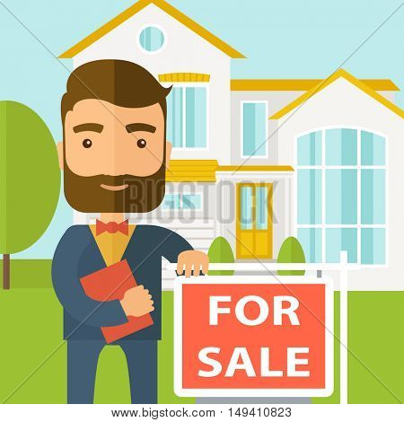 A real estate agent holding the document for the for sale house. A Contemporary style with pastel palette, soft blue tinted background.  flat design illustration. Square layout.
