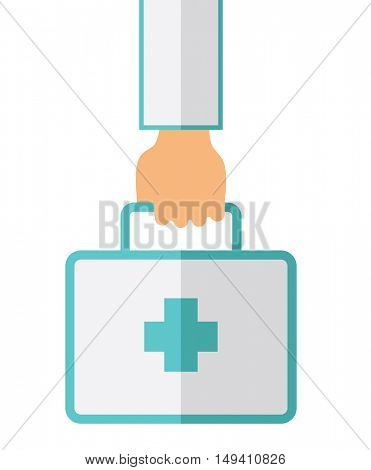 A Hand Holding First Aid Box for emergency purpose. A Contemporary style.  flat design illustration isolated white background. Vertical layout.