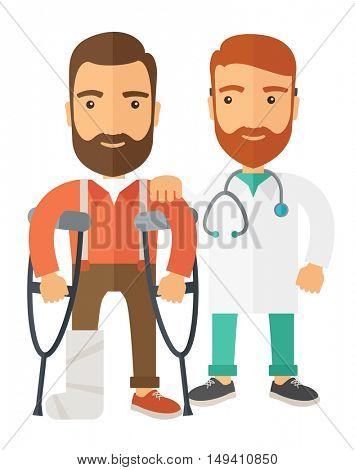 An injured man in crutches assisted by a doctor. Safety concept. A Contemporary style.  flat design illustration isolated white background. Vertical layout