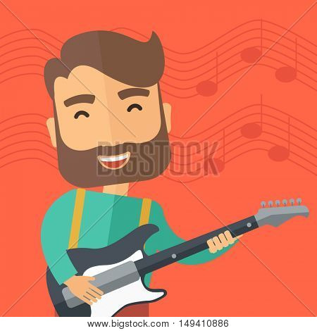 A singing musician playing electric guitar.  flat design illustration. Square layout.