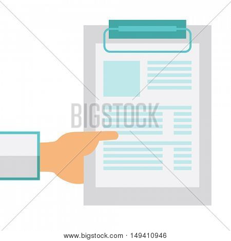 A hand holding clipboard with blank sheet of paper. A Contemporary style.  flat design illustration isolated white background. Square layout