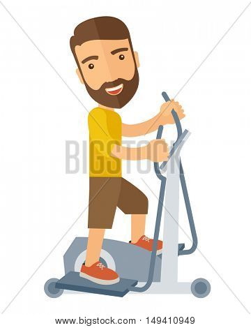 A happy caucasian in gym sport workout exercises. A Contemporary style.  flat design illustration isolated white background. Vertical layout.