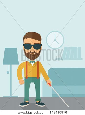 A blind caucasian with walking stick inside the house. Contemporary style with pastel palette, soft blue tinted background.  flat design illustrations. Vertical layout with text space on top part.