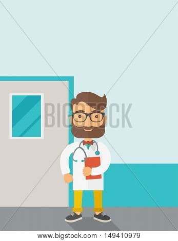 A Young male caucasian doctor standing beside the door with stethoscope and clipboard. Contemporary style with pastel palette, soft blue tinted background.  flat design illustrations. Vertical layout