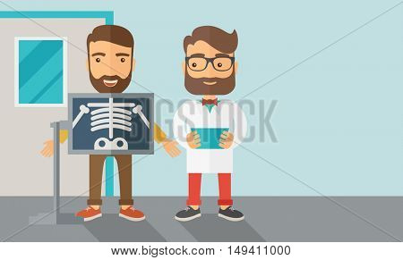 A view of man is holding a X-ray picture.  Contemporary style with pastel palette, soft blue tinted background.  flat design illustrations. Horizontal layout with text space in right side.