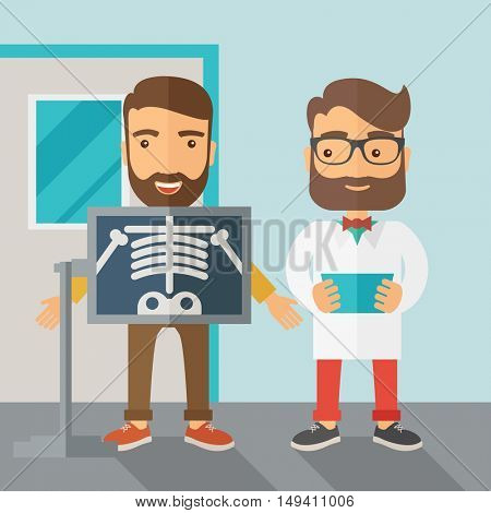 A view of man is holding a X-ray picture.  Contemporary style with pastel palette, soft blue tinted background.  flat design illustrations. Square layout.