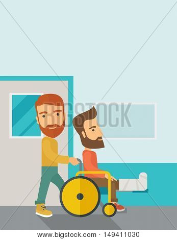 A caucasian man pushing the wheelchair with broken leg patient. Contemporary style with pastel palette, soft blue tinted background.  flat design illustrations. Vertical layout with text space on top