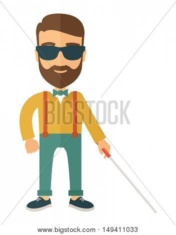 A blind caucasian with walking stick inside the house. A Contemporary style.  flat design illustration isolated white background. Vertical layout.