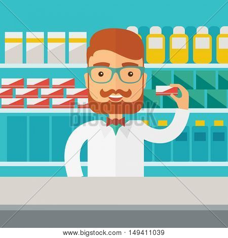 A Young  pharmacy chemist man standing in drugstore. Contemporary style with pastel palette, blue tinted background.  flat design illustrations. Square layout.