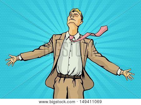 Business concept of successful businessman. Finance wealth profit. Retro style pop art. Vector illustration