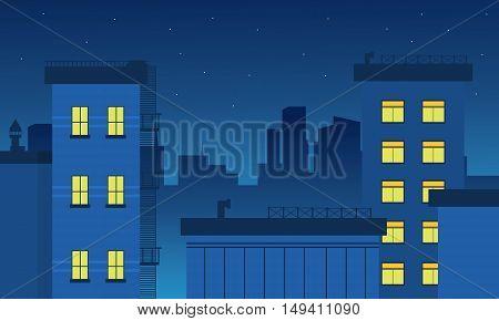 Silhouette of building landscape vector flat illustration