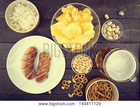 Beer And Snacks Set: Chips, Pistachio, Pretzel, Sausage, Nuts An