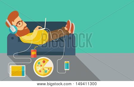A Young caucasian man with headphone lie on the sofa listening music with pizza. Contemporary style with pastel palette, soft green tinted background.  flat design illustrations. Horizontal layout