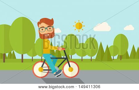 A happy caucasian riding a bicycle under the sun. Contemporary style with pastel palette, soft blue tinted background with desaturated cloud.  flat design illustrations. Horizontal layout.