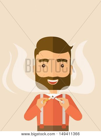 Stop smoking, human hands breaking the cigarette. Contemporary style with pastel palette, soft pink tinted background.  flat design illustrations. Vertical layout with text space on top part.