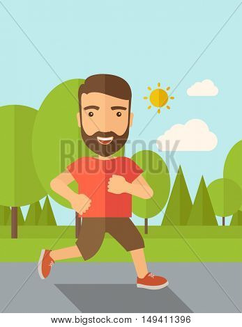 A confident hipster athlete getting ready fo a running race. Contemporary style with pastel palette, soft blue tinted background with desaturated cloud.  flat design illustrations. Vertical layout