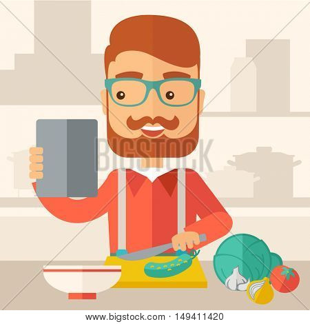 A caucasian worker trying to cook for dinner in his kitchen while looking at the cook book as his guide. Learning concept. A Contemporary style with pastel palette, soft beige tinted background.  flat