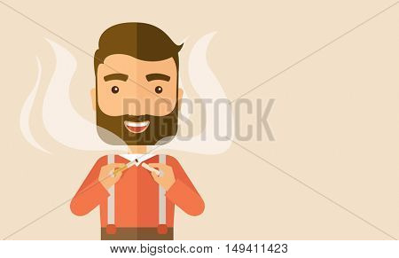 Stop smoking, human hands breaking the cigarette. Contemporary style with pastel palette, soft pink tinted background.  flat design illustrations. Horizontal layout with tetx space in right side.