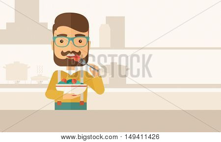 A hungry man eating meal with his fork and by carrying the bowl. Craving concept. A Contemporary style with pastel palette, soft beige tinted background.  flat design illustration. Horizontal layout