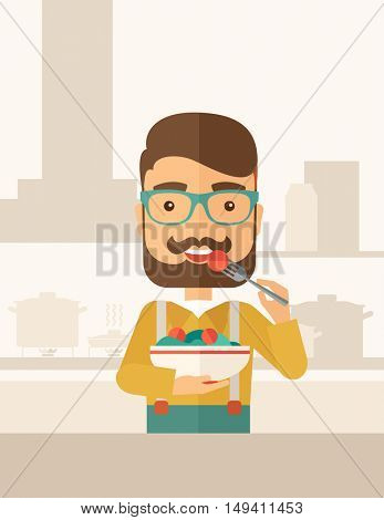 A hungry man eating meal with his fork and by carrying the bowl. Craving concept. A Contemporary style with pastel palette, soft beige tinted background.  flat design illustration. Vertical layout