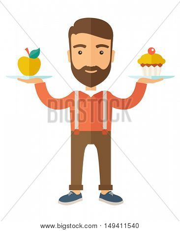 A caucasian hipster young man carries with his two hands cupcake and apple as his balance diet. A Contemporary style with pastel palette, soft beige tinted background.  flat design illustration