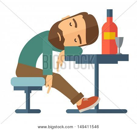 A drunk man sitting fall asleep on the table with a bottle of beer inside the pub. Over drink concept. A Contemporary style.  flat design illustration isolated white background. Square layout.