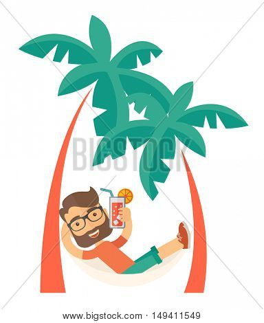 A young caucasian on the beach relaxing and drinking cocktail under the heat of the sun with two coconut tree. A Contemporary style.  flat design illustration isolated white background. Vertical