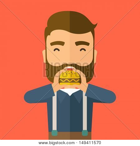 A happy Hipster office man eating hamburger as his snack break. Relaxing concept. A Contemporary style with pastel palette, orange tinted background.  flat design illustration. Square layout.