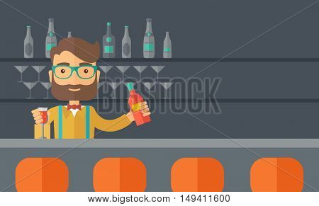 A young bartender preparing a mixed drimks at a bar, several bottles of alcohol and wine glass behind him. A contemporary style with pastel palette black tinted background.  flat design illustration