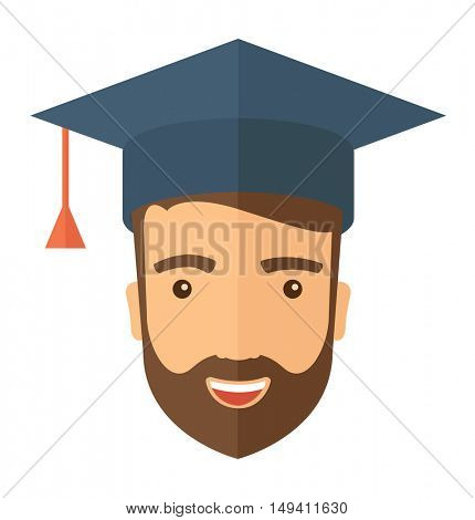 A smiling male head with graduation cap. A Contemporary style.  flat design illustration isolated white background. Square layout