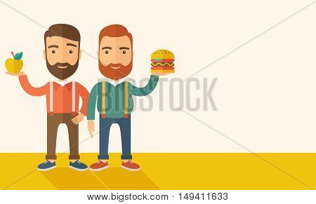 A two businessmen standing and comparing Apple to hamburger of which is healthy food. A Contemporary style with pastel palette, soft beige tinted background.  flat design illustration. Horizontal