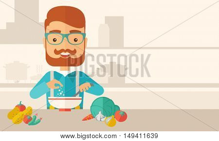 A Young caucasian with beard is happy eating salad for lunch with some vegetables on the table. A Contemporary style with pastel palette, soft beige tinted background.  flat design illustration