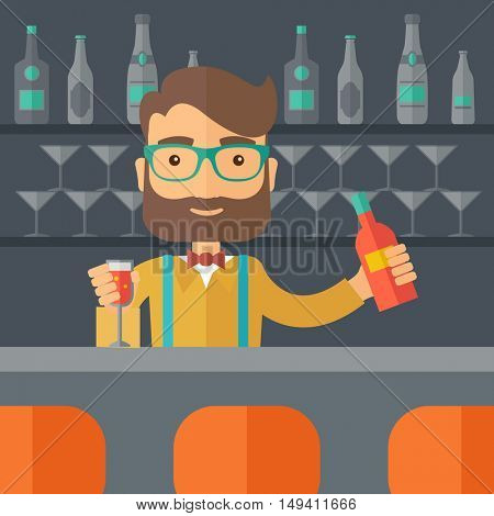 A young bartender preparing a mixed drinks at a bar, several bottles of alcohol and wine glass behind him. A contemporary style with pastel palette black tinted background.  flat design illustration
