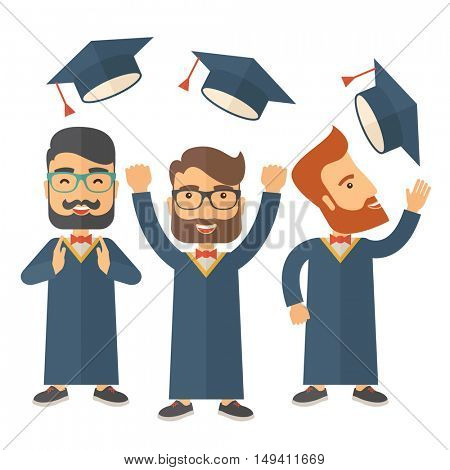 A smiling three men throwing graduation cap in the air. A Contemporary style.  flat design illustration isolated white background. Square layout