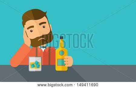 A caucasian sad man is having a problem drinking beer in the bar. Depressed concept. A contemporary style with pastel palette dark blue tinted background.  flat design illustration. Horizontal layout