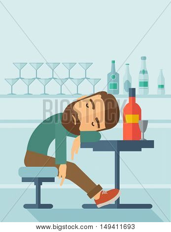 A drunk man sitting fall asleep on the table with a bottle of beer inside the pub. Over drink concept. A contemporary style with pastel palette soft blue tinted background.  flat design illustration