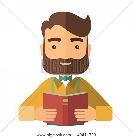 A caucasian with beard reading a medical book to learn more knowledge in medicine. A Contemporary style.  flat design illustration isolated white background. Square layout