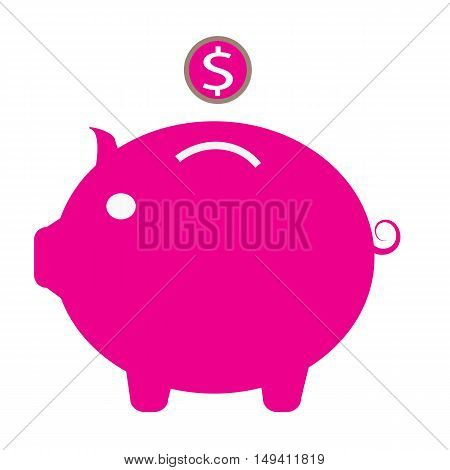 Piggy bank icon, pink piggy bank icon on white background