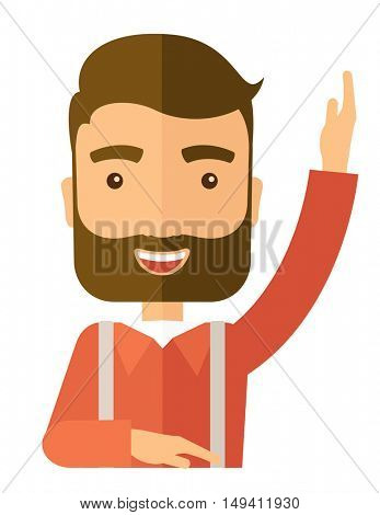 A young student raising his hand with a smile. A Contemporary style.  flat design illustration isolated white background. Vertical layout