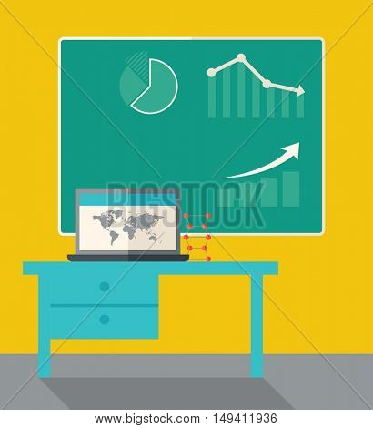 A blackboard with hand drawn growing bar graph, a table and laptop on the top. A Contemporary style with pastel palette, dark yellow tinted background.  flat design illustration. Square layout.