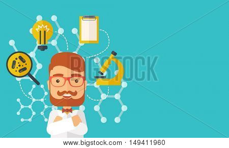 A good looking intelligent man thinks about medical study. A Contemporary style with pastel palette, soft green tinted background.  flat design illustration. Horizontal layout with text space in right